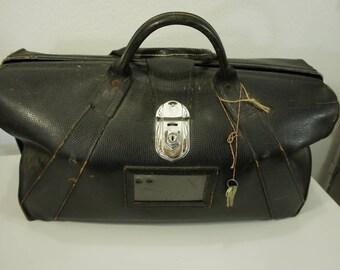 Vintage large black leather framed Rexbilt pilots bag doctor's bag professional briefcase art deco hardware overnight briefcase satchel