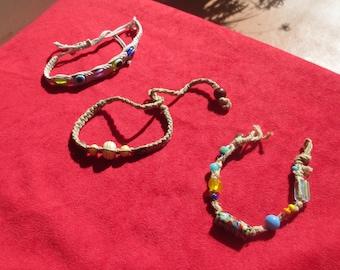 Lot Of Assorted Beaded Rope Bracelets Anklet TLC