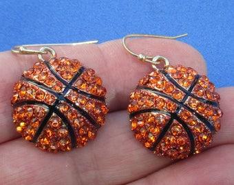 Retro Basketball Shaped Orange Rhinestone Dangling Pierced Earrings