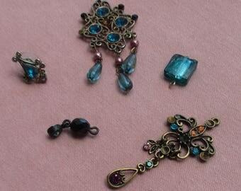 Lot Of Retro Salvaged Teal Colored Pendants Bead Dangles Single Odd Earring