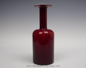 """Holmegaard 9.75"""" tall oxblood glass gulvase/gulvvase by Otto Brauer"""