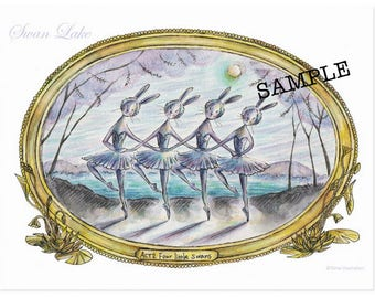 Swan Lake Ballet Bunnies postcard set A (6 cards)