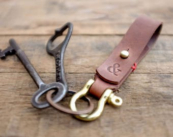 Leather Keychain / Key Ring / Fob / Lanyard / Walnut