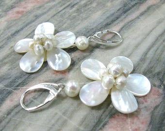 White flower mother of pearl earrings sterling silver dangle earrings freshwater pearl earrings bridal jewelry wedding anniversary gift her