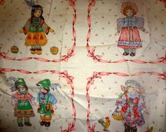 """2 pieces vintage upholstery craft fabric 22"""" x 46"""" and 11"""" x 46"""" girls themed b216"""