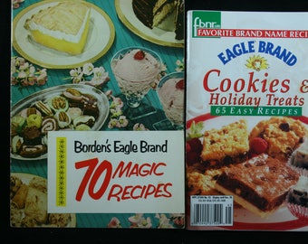 Eagle Brand Sweetened Condensed Milk, Vintage Cookbooks, Set of 2, Cookies & Holiday Treats, Borden's, Cooking, A-391