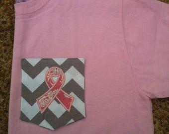 SALE Breast Cancer Ribbon Pocket Tee