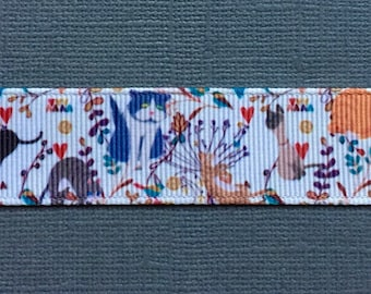 """Cats in the Flowers 7/8"""" Grosgrain Craft Ribbon - 3 Yards"""