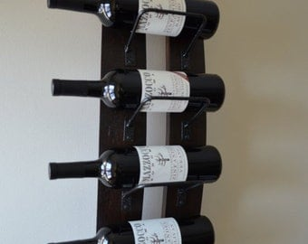 ON SALE - 10% off Rustic Wine rack - with steel banding , made from reclaimed wood