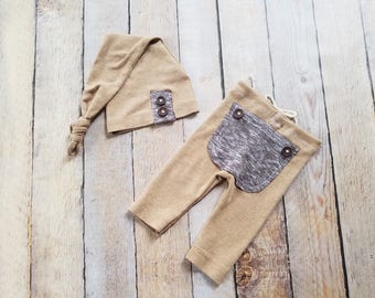 RTS - Newborn Upcycle Tan Outfit Hat and Pant Set with Bum Flap Photo Prop - Ready to Ship