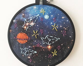 Beginner Embroidery Kit - Galaxy, Planets, and Stars