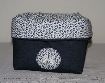 Fabric basket Organizer padded denim and blue flowers