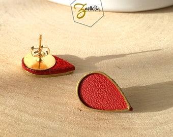 """Boucles d'oreille Clou or 14K /  Cadeau St Valentin / gouttes doré cuir rouge - modèle PLUIE - Coll.""""Mon Coeur Mon Amour"""" Cadeau Femme Coeur"""