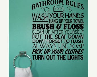 EVERYTHING IS 20% OFF Bathroom Rules Wall Decal