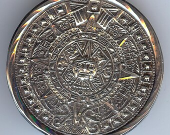 VINTAGE Mexico sterling silver MAYAN CALENDAR pin brooch or pendant