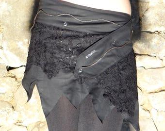 Ethnic Black Lace, customizable, cross-waistband skirt.