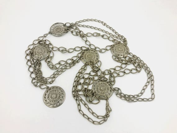 Vintage Medallion Silver Tone Chain Belt - Boho Gypsy Chain Statement Belt - Adjustable Vintage Chain Belt Medium Large Belly Chain VTG Belt