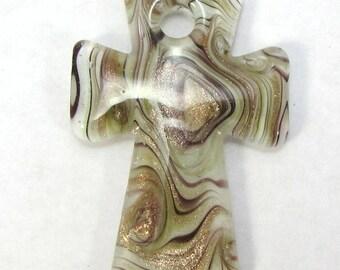 Lampworked Glass Cross Pendant, 44x30mm Single-Sided Cross with Swirl Pattern, Religious Pendant, Item 1440p