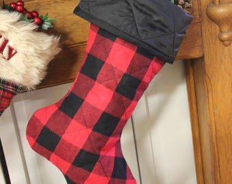 Red and Black Checked Quilted Stocking