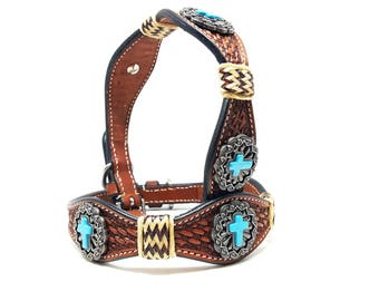 Turquoise Cross MadcoW Western Hand Tooled Rawhide Braided Canine Leather Cowhide K9 Dog Collar Hand Made Fully Adjustable