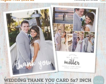 ON SALE Wedding Thank You Card - Photoshop template - AW023 - Instant Download