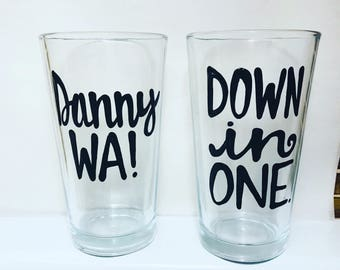 Beer Set-Veep- Danny Wa- Down In one-  pint mugs Funny gifts for friend- veep m  show gift set of mugs wedding gift- wedding shower