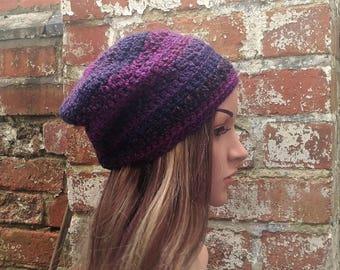 Slouch beanie . Purple beanie . Crochet beanie . Colourful beanie