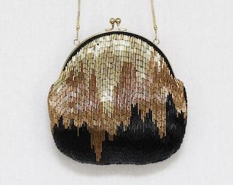 Gold Copper and Black Beaded Evening Bag - Vintage 1980s LaRegale Handbag