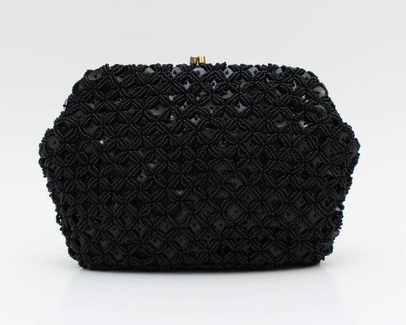 Black Beaded Sequin Clutch - Vintage 1960s Black Cocktail Handbag