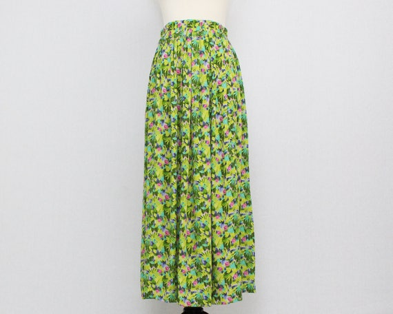 Vintage 1980s Green Floral Print Maxi Skirt by Della Spiga - Size Small