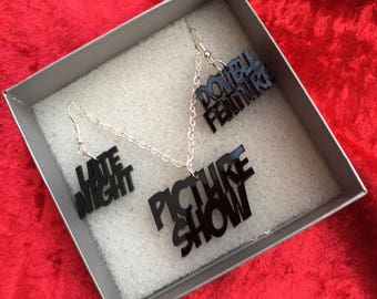 Rocky Horror inspired jewellery set - Late Night, Double Feature, Picture Show