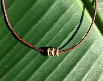 Brass, Pyrite and Leather Choker
