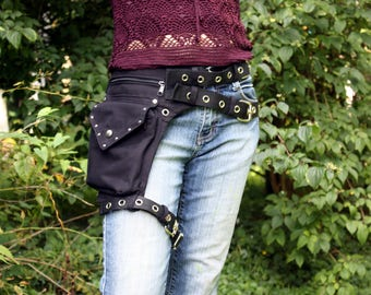 Leg strap utility belt, also plus size, extra rivets and metal buckles * Festival belt * Fanny Pack, Holster bags, Hip Bag Burning man