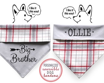 Personalized Stylish Reversible Flannel Dog Bandana