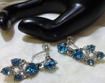 Beautiful Vintage Bogoff  Aquamarine Coloured  Blue Clear Rhinestone Dangle Earrings