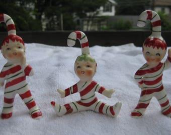 Vintage Lefton Christmas RARE Candy Cane Elf Ornaments Three In Original Box Pixies Sprites Decorations