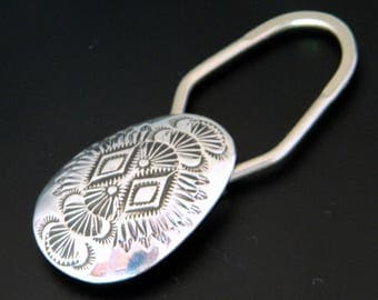 Native American Indian Navajo Hand Stamped Sterling Silver Key Ring