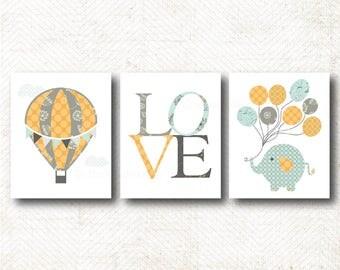 Hot Air Balloon, Love, Elephant, Art Print Set