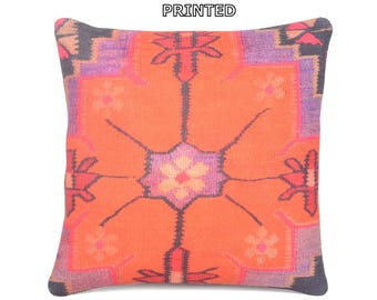 """bohemian tapestry 18"""" moroccan rug ethnic throw pillow wool rug geometric pillow sit pillow kilim pillow cover outdoor floor cushion 65-45"""