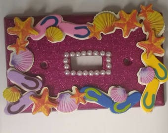 Pink Sparkle Flip Flop Switch Plate