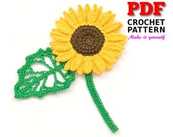 Crochet | Crochet Pattern | Applique pattern | Crochet SUNFLOWER