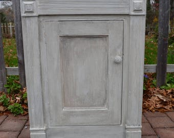 vintage distressed hand painted bathroom cabinet