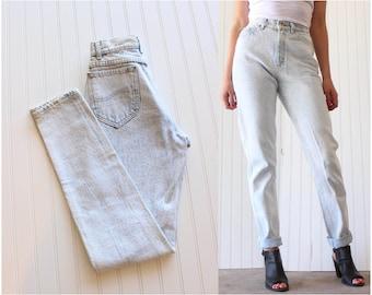 Vintage Lees Acid Wash Denim High Waist Jeans SM/XS 25 Waist Tapered Leg 80's Jeans Mom Jeans