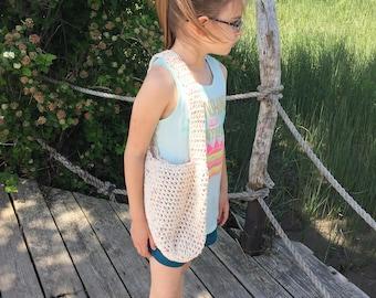 Crochet childs market tote/beach bag.