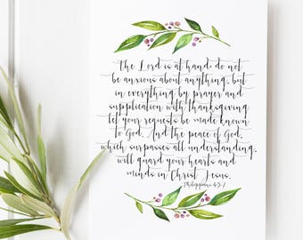 Philippians 4:5-7 - Do not be anxious about anything but in everything through prayer and petition - Scripture Art - Bible Verse - Verse art