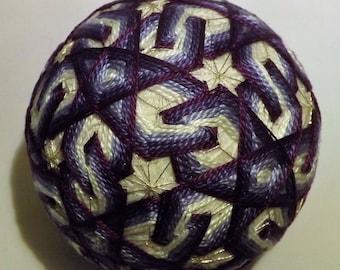 Japanese Temari Ball Purple interlockingstar flower
