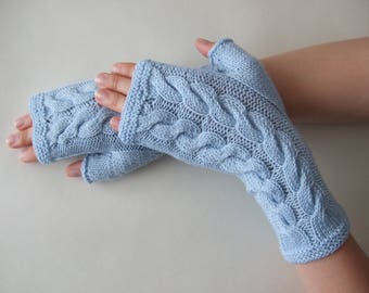 Knitted of 100 % baby MERINO wool. Light BLUE fingerless gloves, wrist warmers, fingerless mittens. Handmade gloves. Cable gloves.