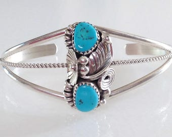 Navajo Native American Turquoise Sterling Floral Leaf  Cuff Bracelet Signed Max C