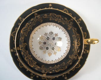 Antique Royal Grafton black Tea Cup & Saucer, Black and gold scroll, Wide mouth tea cup and saucer set