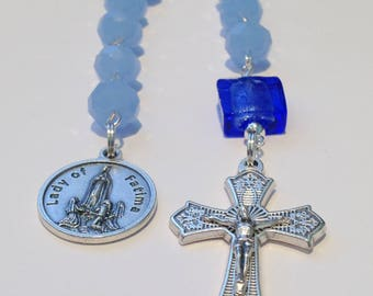 Our Lady of Fatima Rosary, One Decade Rosary, Blue Rosary, Pocket Rosary, Birthday Gift, Faith, Prayer, Gift for Her, Gift for Him, Wife